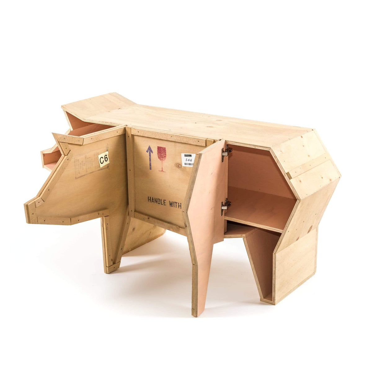 """Sending Animals"" Wooden Pig Storage Unit"