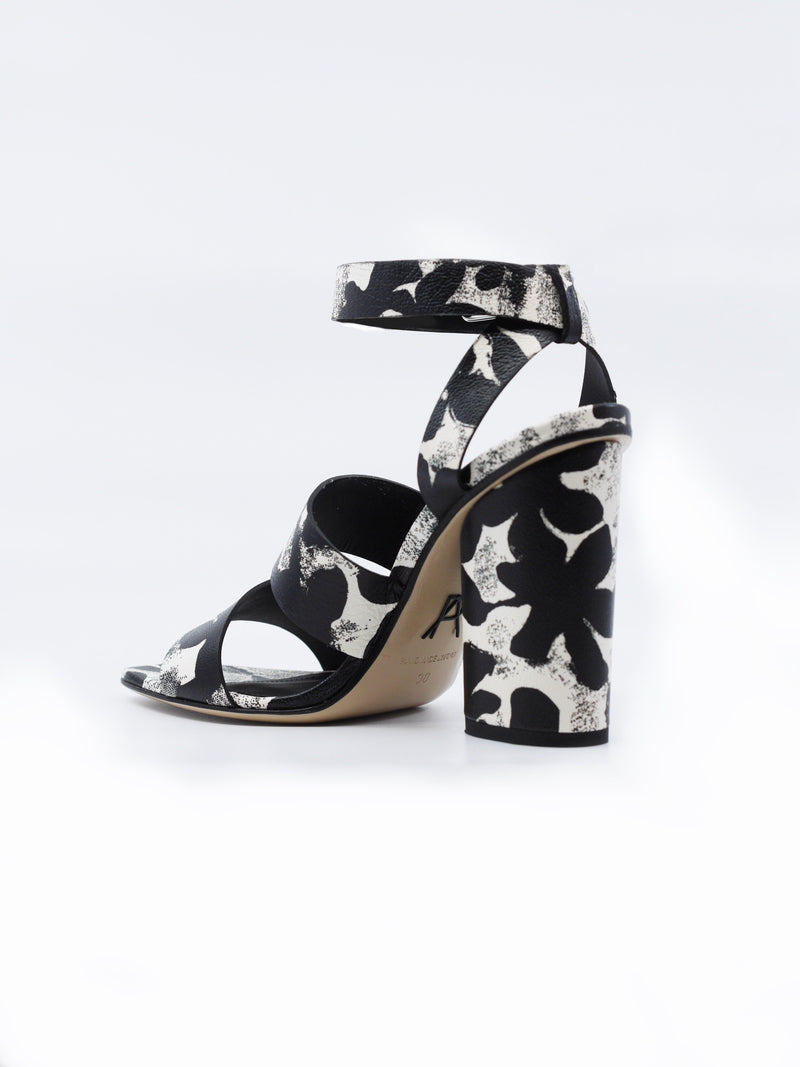 Scully: Leather Block Heel Sandals Black and White