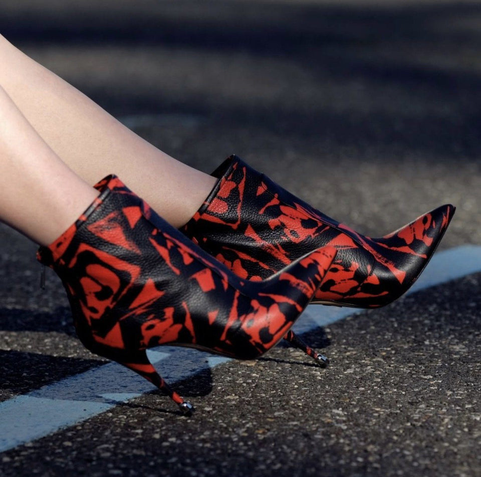 Citra: Leather Print Boots in Lipstick Red