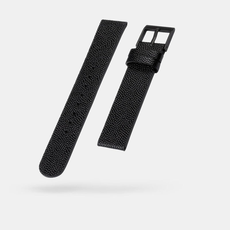 Pebble Grain Black Watch Strap 18mm