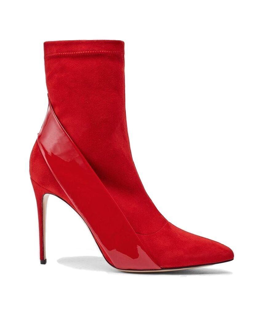 Kora: Suede & Leather Pumps Red