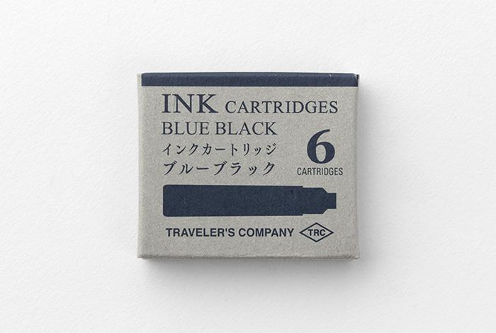Traveler's Brass Fountain Pen Ink Cartridges - Blue Black