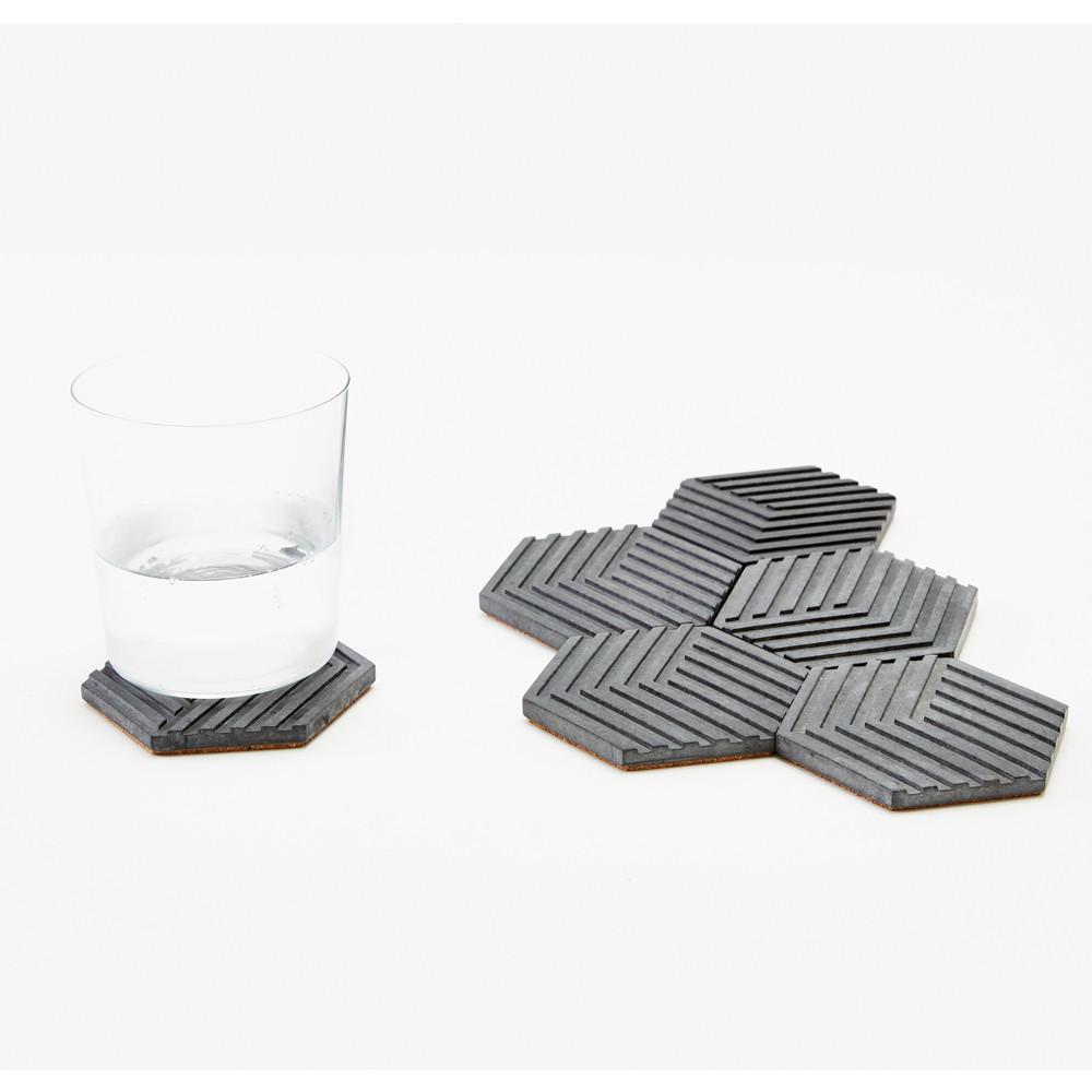 Concrete Table Tiles - Charcoal
