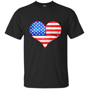 American Flag Heart T-shirt - 4th July Independence Day USA
