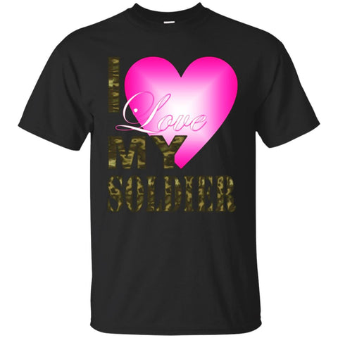 Valentine's Day Pink Heart Camo I love My Soldier T Shirt