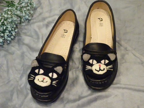 Handmade Cat Loafer Shoes - Black
