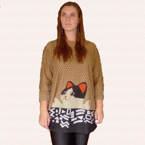 Buddy Cat Loose Sweater Dress