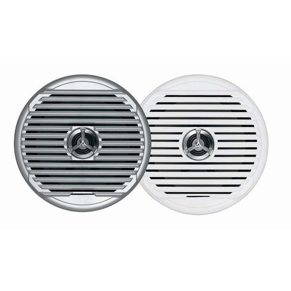 "JENSEN  MSX65R 6.5"" High Performance Coaxial Speaker - (Pair) White-Silver Grills [MSX65R]"