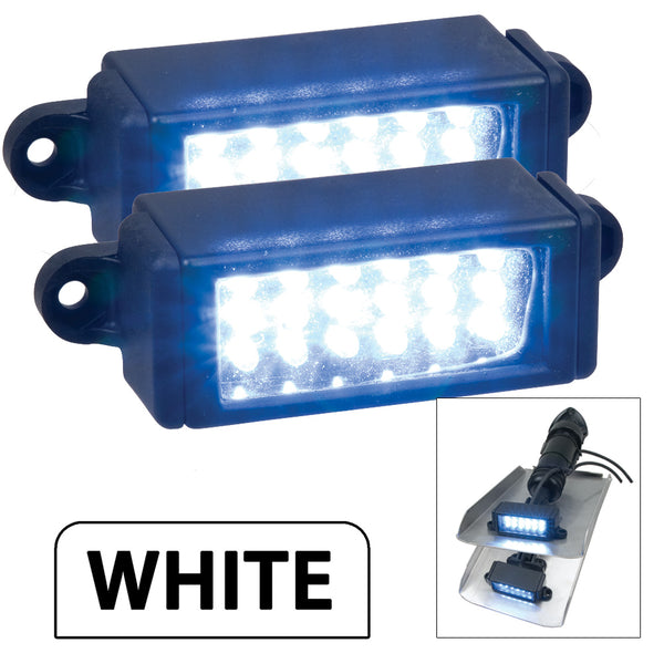 Perko Surface Mount Trim Tab Underwater Lights - Pair - White [0178DP2WHT]