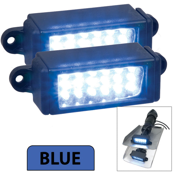 Perko Surface Mount Trim Tab Underwater Lights - Pair - Blue [0178DP2BLU]