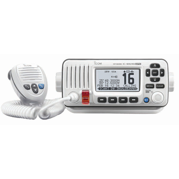 Icom M424G Fixed Mount VHF Marine Transceiver w-Built-In GPS - Super White [IC-M424G 22]