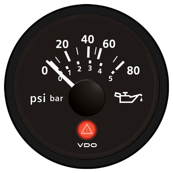VDO Viewline Onyx 80 PSI-5 Bar Oil Pressure Gauge 12-24V - Use with VDO Sender [A2C53413151-S]