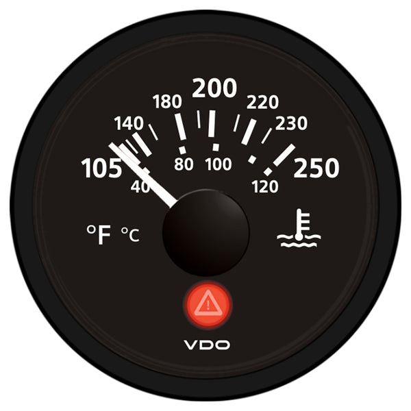 VDO Viewline Onyx 250 DegreeF-120 DegreeC Water Temperature Gauge 12-24V - Use with VDO Sender [A2C53413386-S]