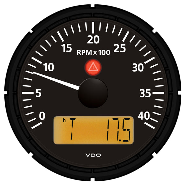 "VDO Viewline Onyx 4,000 RPM 3-3-8"" (85mm) Marine Tachometer w-2 Hourmeters, Clock and Voltmeter - 12-24V [A2C53194863-S]"