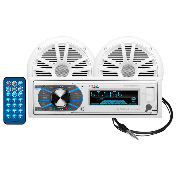 "Boss Audio MCK632WB.6 Package w-MR632UAB AM-FM CD Receiver; Pair of 6.5"" MR6W Speakers  MRANT10 Antenna [MCK632WB.6]"