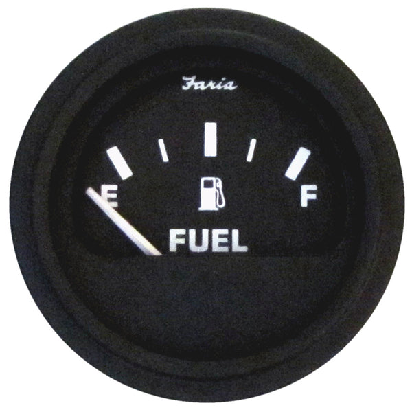 Faria Heavy-Duty Fuel Level Gauge (E-1-2-F) - Black *Bulk Case of 24* [GP0707B]