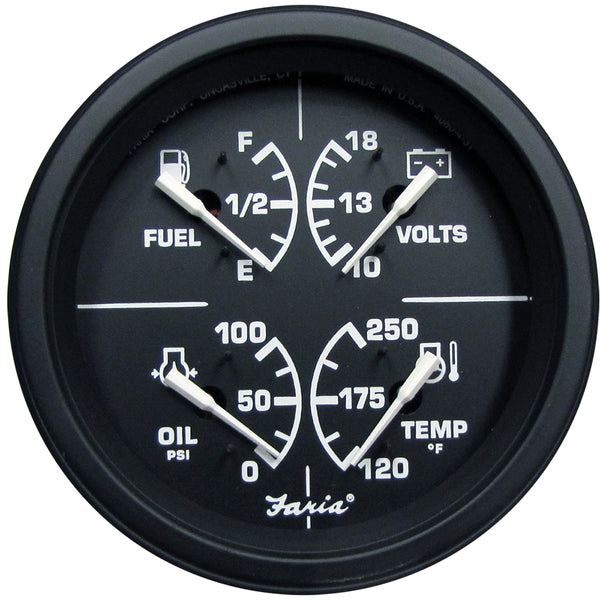"Faria 4"" Heavy-Duty Multi-Function Gauge (Fuel, Oil (PSI) Water Temp  Voltmeter) - Black *Bulk Case of 12* [GF0036B]"