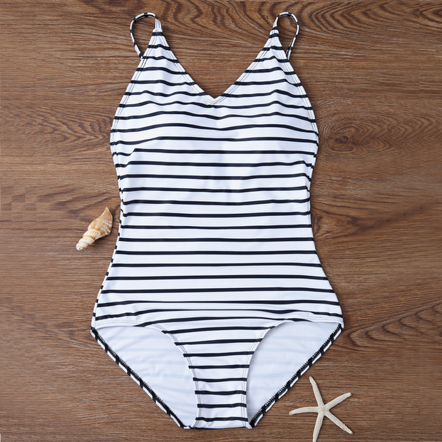 Modest Stripes Backless One Piece Swimsuit Black and White