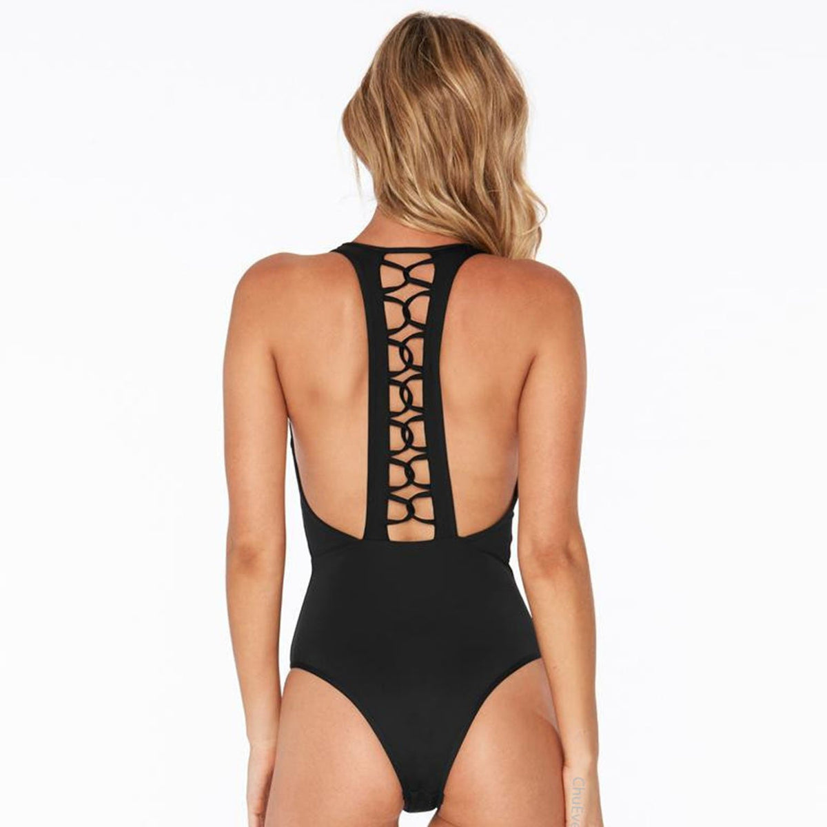 Slimming Criss Cross Racerback High Waisted One Piece Swimsuit