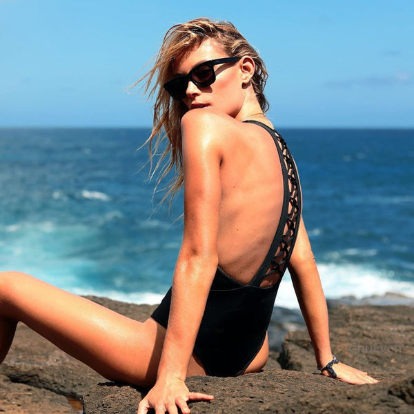Black Criss Cross Racerback High Waisted One Piece Swimsuit - worthtryit.com