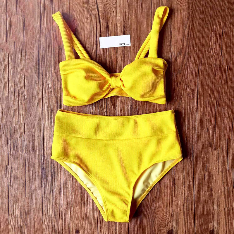 Ribbed Front Knot High Waist Crop Bikini Swimsuit