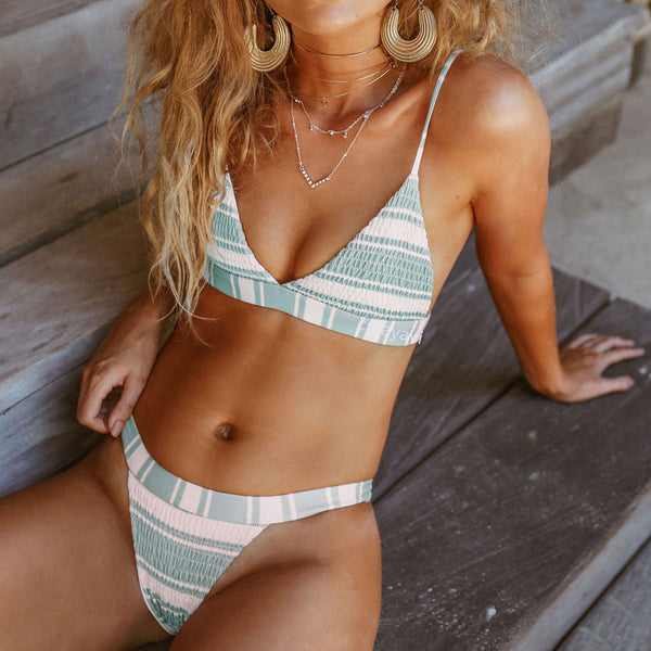 Scrunched Stripes High Cut Triangle Bikini Set - worthtryit.com
