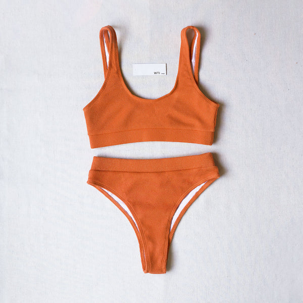 Ribbed Sporty Crop Top High Waisted Bikini Swimsuit