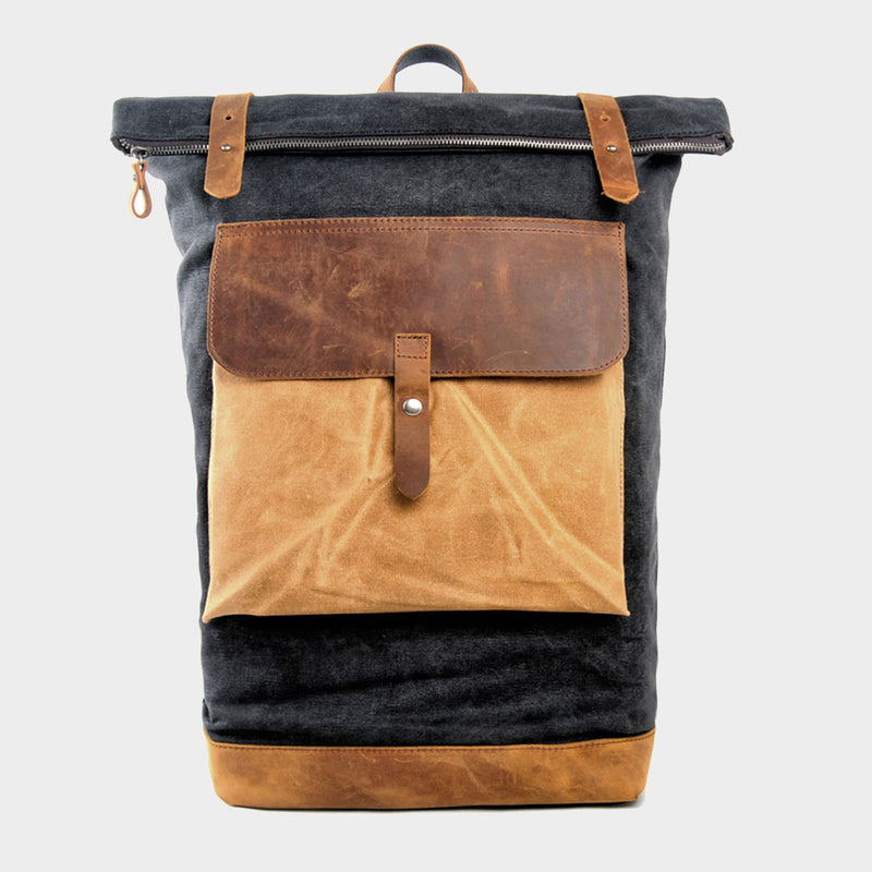 Color Blocked Canvas Backpack 15""