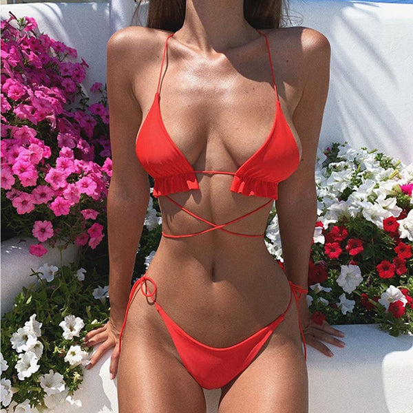 Cheeky Tiny Straps Cross Back Triangle Bikini Swimsuit HT20
