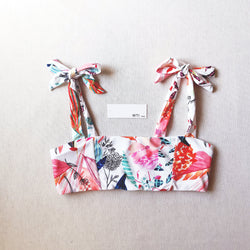 Cute Print Tie Shoulder Crop Top Bikini Swimsuit