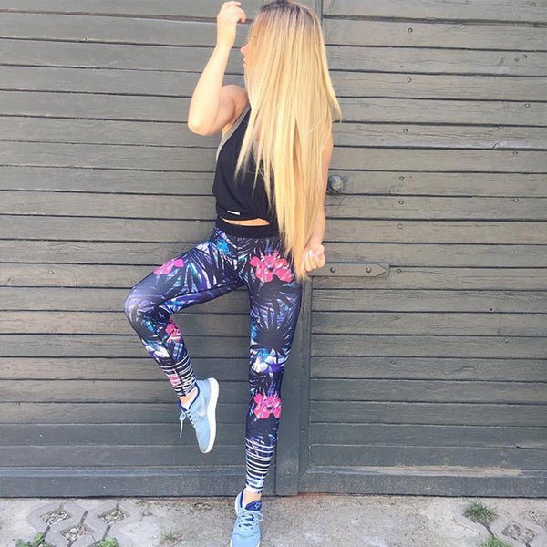 Floral Print Leggings Yoga Pants - worthtryit.com