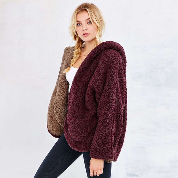 Reversible Faux fur Hoodie Coat Fuzzy Jacket - worthtryit.com