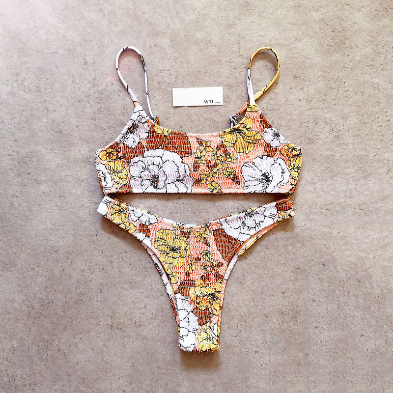Floral Scrunched Crop Top Bikini Swimsuit SY20