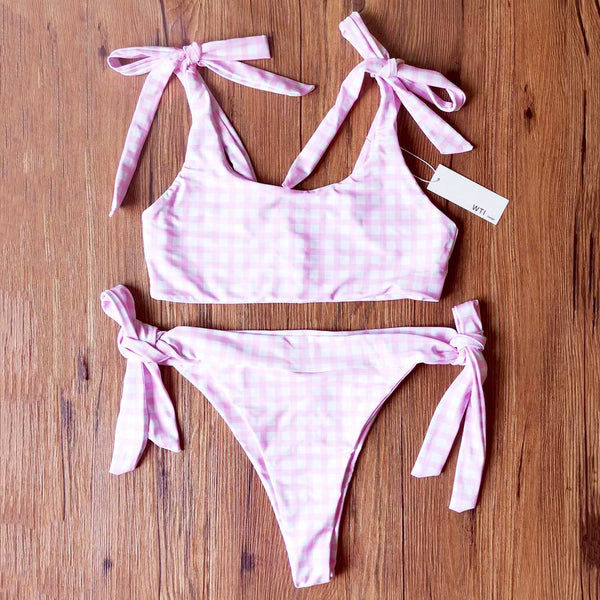 Checked Shoulder Tie High Rise Crop Top Bikini Set - worthtryit.com