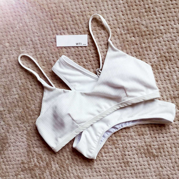 Sporty Ribbed Crop Top Bikini Set - worthtryit.com