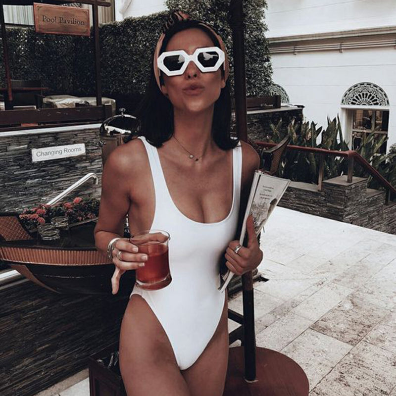 Solid Color Vintage High Cut One Piece Swimsuit - worthtryit.com