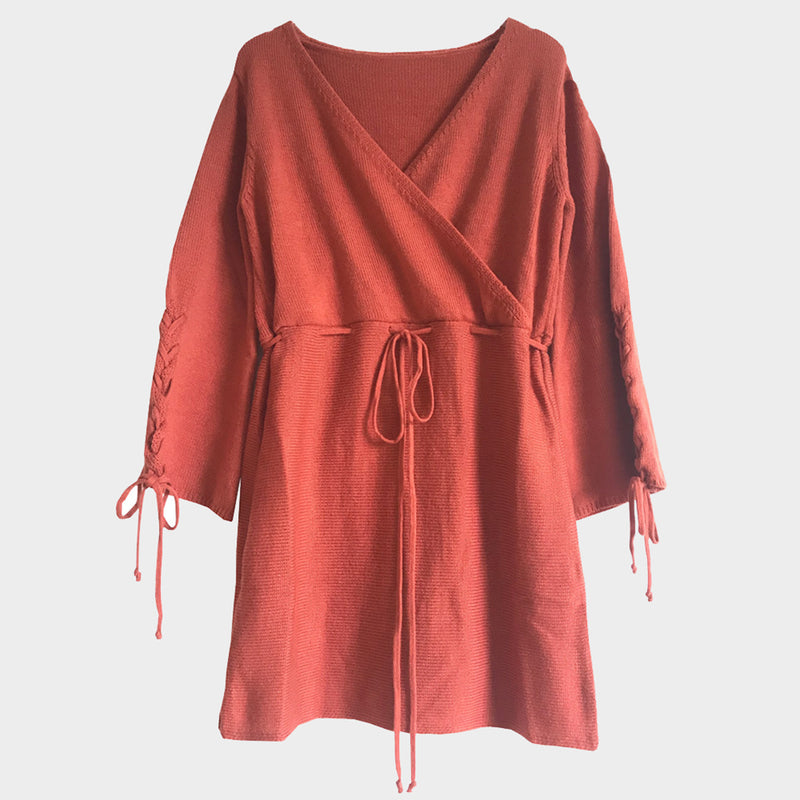 Cross Over V Neck Flare Sleeve Knit Dress