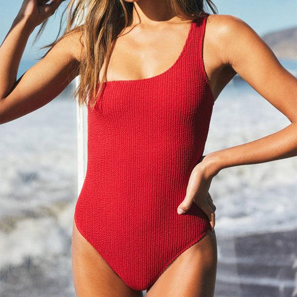 Lace Up Back One Shoulder One Piece Swimsuit - worthtryit.com