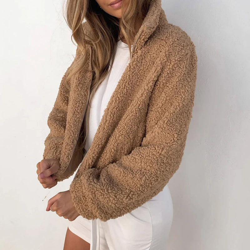 Soft Stand Up Fleece Teddy Short Jacket