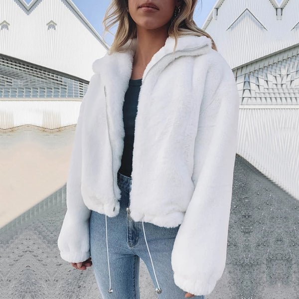 Faux Fur Short Jacket-White