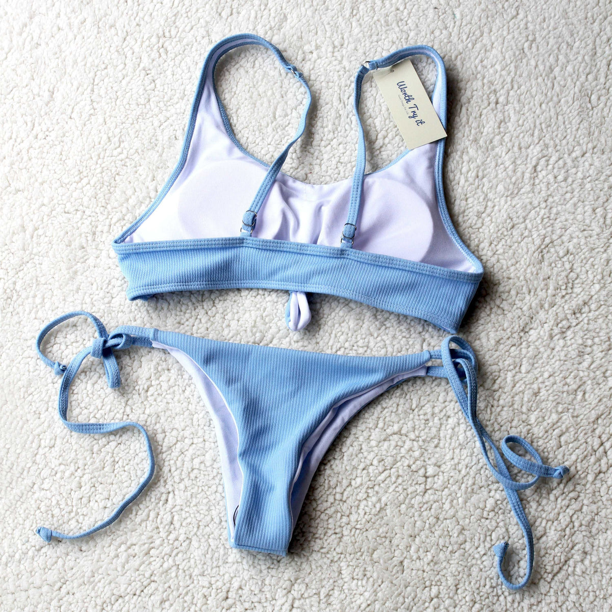 Ribbed Bowknot Crop Top Bikini-Baby Blue