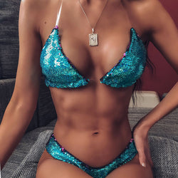 Reversible Sequin Clear Straps Bikini Swimsuit