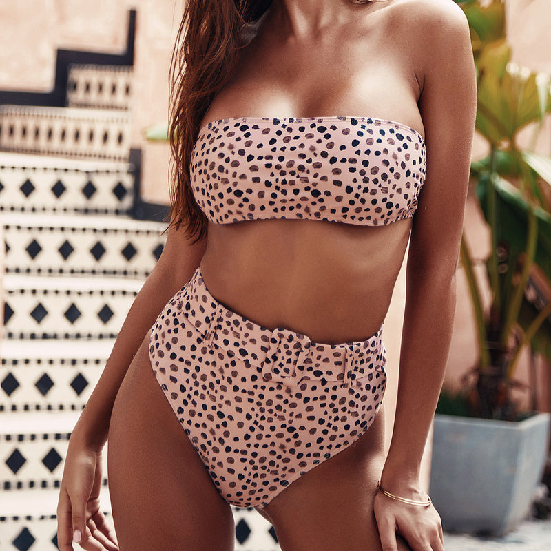 Cute Print High Waist Bandeaux Swimsuit With Belt