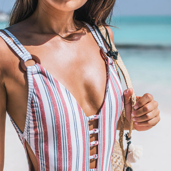 Colorful Stripes Open Back One Piece Swimsuit - worthtryit.com