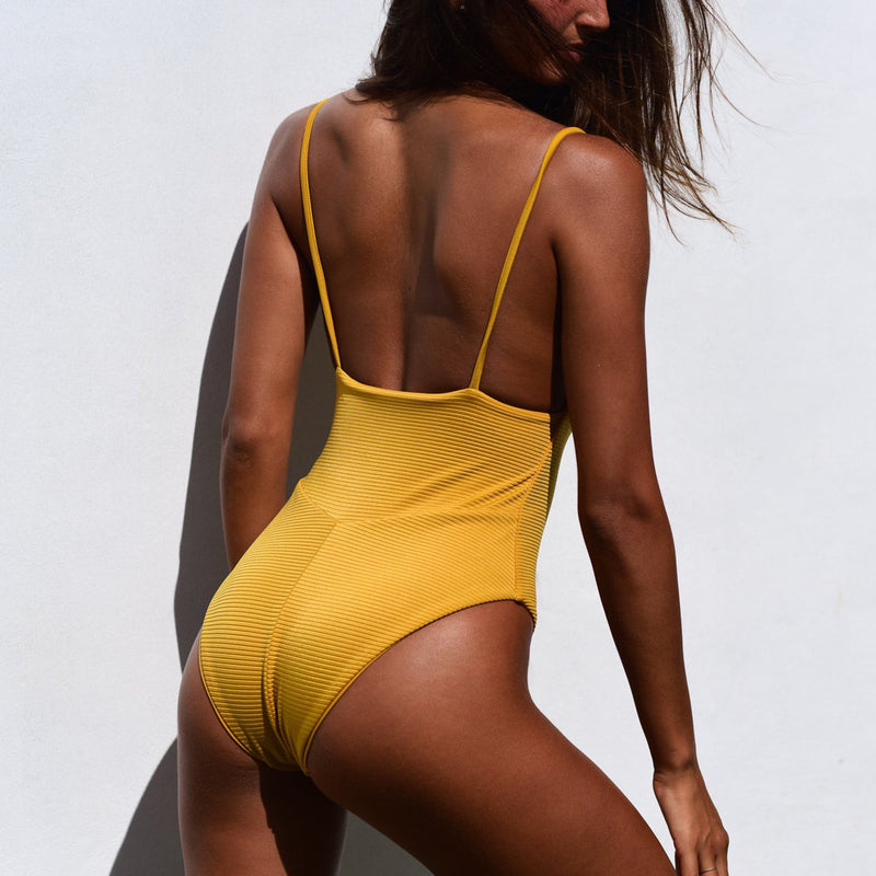 Vintage Solid Color  Ribbed One Piece Swimsuit