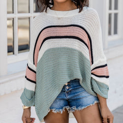 Color Blocked Loose Knit Sweater