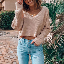 Cute V Neck Short Knit Sweater