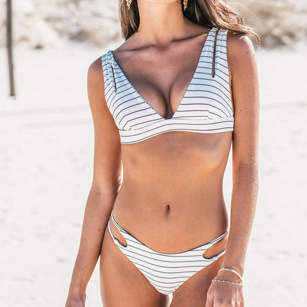 Cute Print V Crop Top Bikini Swimsuit