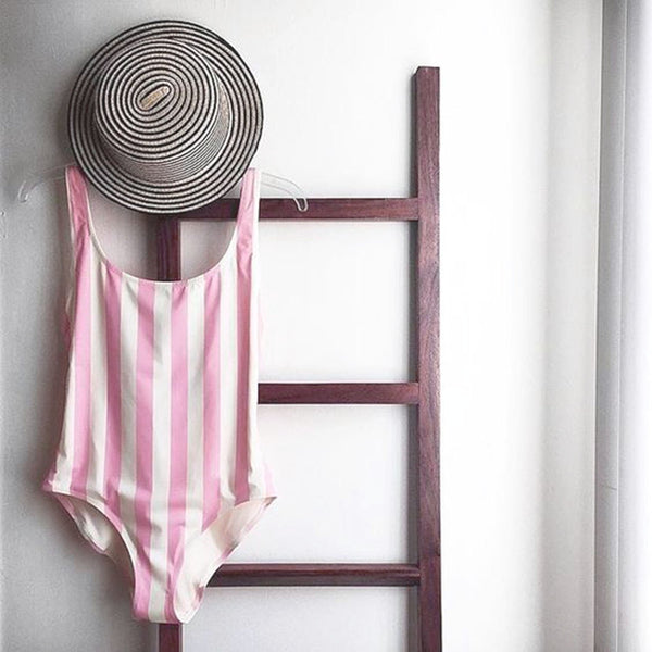 Colorful Stripe High Rise One Piece Swimsuit - worthtryit.com