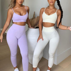 Solid Color Seamless Strappy Sport Top & High Waist Leggings